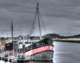 Spartan on Irvine Harbour, Home Decor, red grey boat, quirky grunge wall art