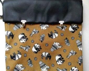 PREORDER satchel backpack panda with sweaters, brown black