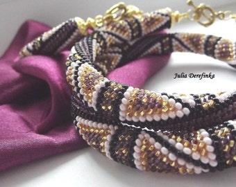 Bead crochet rope beaded crocheted necklace bracelet beadwork jewelry set Eastern