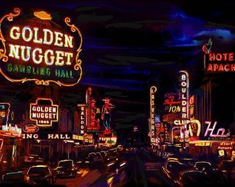 Las Vegas Art Print, Vintage Vegas art, Old Vegas Artwork
