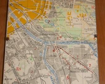 Vintage 1950s Framed Map of Paris