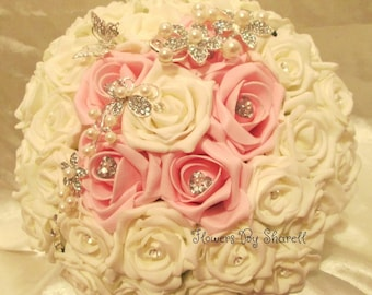 Wedding Bouquet pink and ivory brooches