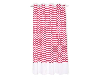 KraftKids curtains - Chevron magenta with white