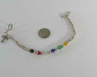 """Vintage Sterling Silver Colored Bead Bracelet with Cross Charm 7"""""""