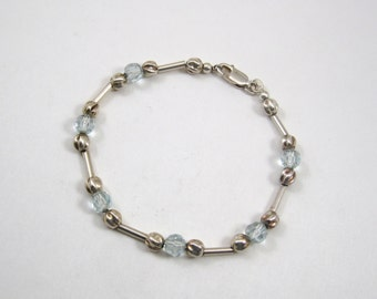 """Vintage Sterling Silver .925 Beaded Bracelet 6.75"""" Inches UNIQUE LOOK WOW"""