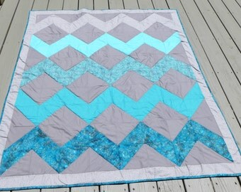 Sale! Handmade Chevron Quilt in Grays and Turquoise Blues