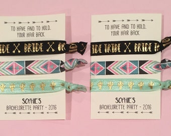 bachelorette party favor hair ties // to have and to hold.. your hair back // bride tribe // custom