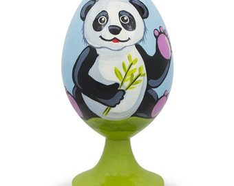 """3.5"""" Smiling Panda with Bamboo Wooden Easter Egg Figurine- SKU # P-200-90"""