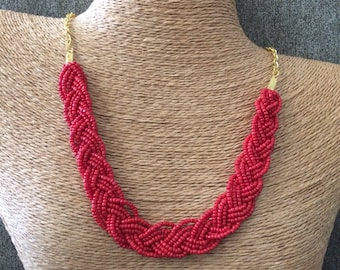 Braided red necklace, red bib necklace, red statement, statement necklace, red bridesmaids, red necklace, red beaded necklace, red bridal