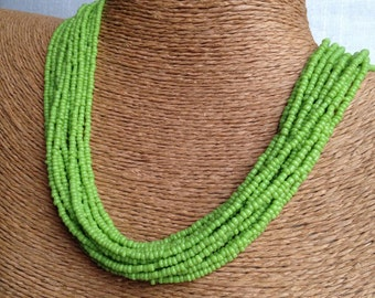 lime green necklace, lime seed bead multi-strand necklace, lime bridesmaids, lime necklace, lime bridal party, green necklace, lime beaded