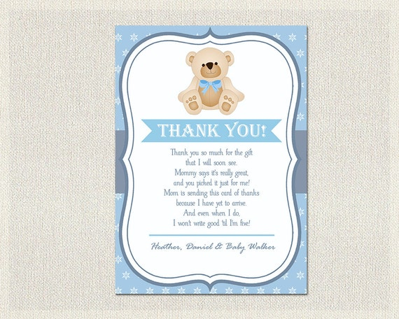 Teddy Bear Baby Shower Thank You Card Teddy Bear Navy Blue