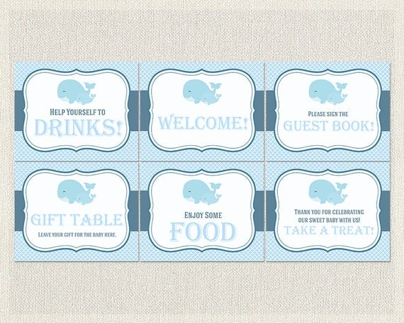 Nautical baby shower printable signs welcome gift table sign il570xn negle Gallery