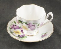 Queen Anne Bone China Cup & Saucer Clamatis