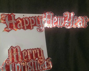 Vintage tin happy New year and merry Christmas signs, made in USA, ***CLEARANCE****