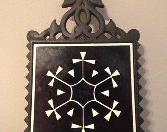Vintage Mid Century Modern Abstract Tile and Ornate Cast Iron Trivet, Black White Kitchen Decor - Made in JAPAN