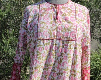 vintage 70s indian cotton caftan dress or tunic in pink red and green floral print