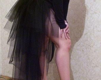 Black Tulle Tail Tutu Skirt Overskirt