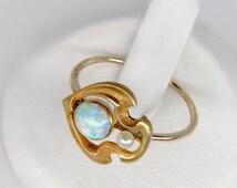 SALE 10% OFF gold opal ring, 14k gold art nouveau opal pearl ring, opal art nouveau ring, size 5.75, vintage opal pearl ring, estate opal st