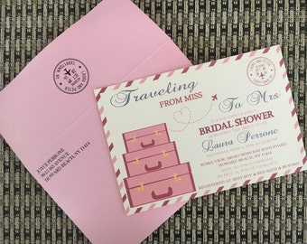 Bridal Shower Invite - Postcard Travel Theme
