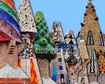 Chimney pots, ANTONI GAUDI, Worlds Apart, Barcelona, Art Print, City Print, Wall Art Prints, Barcelona Art, Modern Art, Art, Mike Pratt