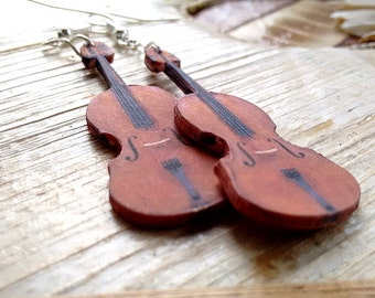 Beautiful violin earrings, Earrings for violinist, Violinist Earrings, Gift for musician, Earrings for musician, miniature violins