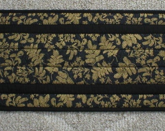 """Handmade Elegant Quilted Table Runner, Black with Gold Leaves, 12-1/2""""x36-1/4"""" (#2035-31-40)"""