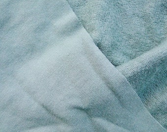 Light sage knit fabric, SOLD BY 5 YARDS, cotton bamboo stretch french terry, Sage, Pale Green.