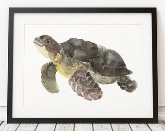 Cute turtle watercolor print Nautical decor Nursery art ACW217