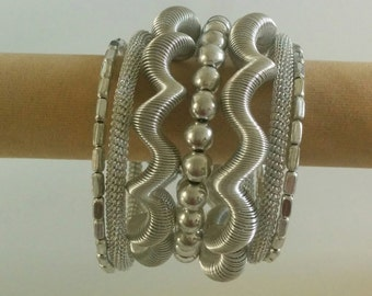 Silver Spiral Metallic 7 layer Bracelet