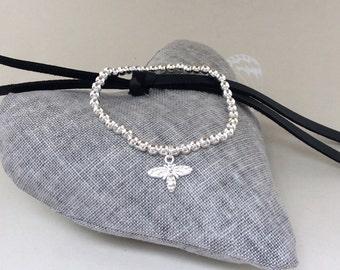 Silver Friendship Bracelets, bumble bee bracelet, stacking bracelet, star bracelet, bumble bee, heart, star
