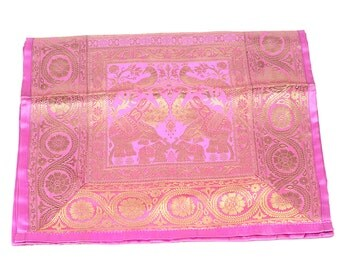 Indian Silk broket Rectangle Table Runner With elephant design Pink color 17*62 inches