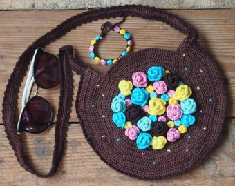 Crochet bag pattern,Bag and Bracelet crochet pattern with embroidery, crochet flower purse and bracelet, crochet bag, crochet purse