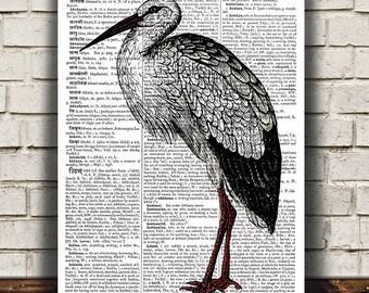 Stork art Wildlife print Animal print Bird poster RTA675