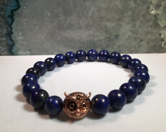 Women's All Natural Blue Lapis bead bracelet with Owl Charm