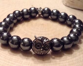 Stackable Hematite Gemstone Bead Bracelet w/ Owl charm