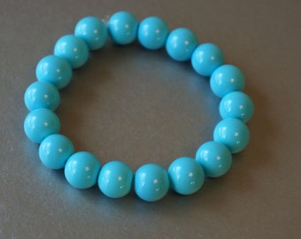 10mm round turquoise glass stretch bracelet
