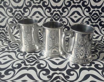 Vintage~Steiff Pewter~Tankered Mugs~Set of 3~Glass Bottom