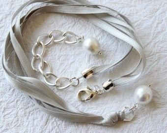 Pure silk ribbon and pearl necklace