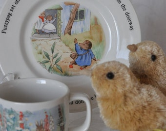 Vintage Little Grey Rabbit mug/cup and plate Adams 1985 Margaret Tempest Alison Uttley FREE SHIPPING