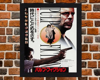 Framed Pulp Fiction Quentin Tarantino Japanese Movie / Film Poster A3 Size Mounted In Black Or White Frame