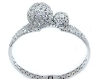 925 Sterling Silver Hinged Bangle Bracelet – 3.34 CT.TW (S207)