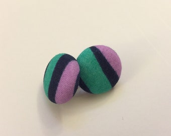 """SALE!! Fabric Button Earrings - 3/4"""" Diameter, colorful 80s inspired stripes, stud earrings"""