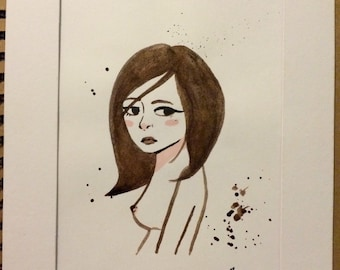 Girl Simple Ink Drawing