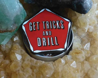 "5-Pack ""Get Tricks and Drill"" Hat Pin - 1.5"" Hard Enamel (Glitter Available)"