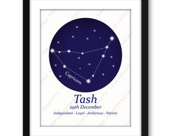 Astrology print, Zodiac constellation, personalized star chart, star sign,  Christmas, birthday, graduation gift