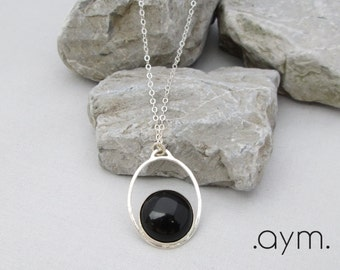 sterling silver chain black onyx pendant layer necklace, long layering necklace, minimalist, dainty, adjustable, gift for her, mom, wife