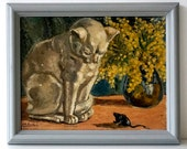 Vintage - Original 1940's Oil Painting of Cat & Mouse with Mimosa - Framed