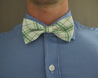 Men's No-tie Bow Tie (Green + White Tartan)