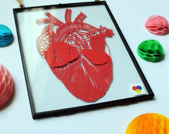 Anatomical heart paper cut, Heart paper cut, Anatomical heart, Framed paper cut, Paper cut heart, Anatomy, Anatomical art