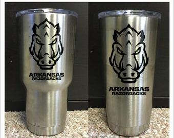 Razorback Yeti Rambler - 30oz or 20oz -  Laser Engraved - Arkansas - Hogs
